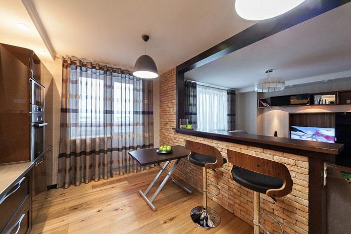 cuisine-salon design avec deux fenêtres