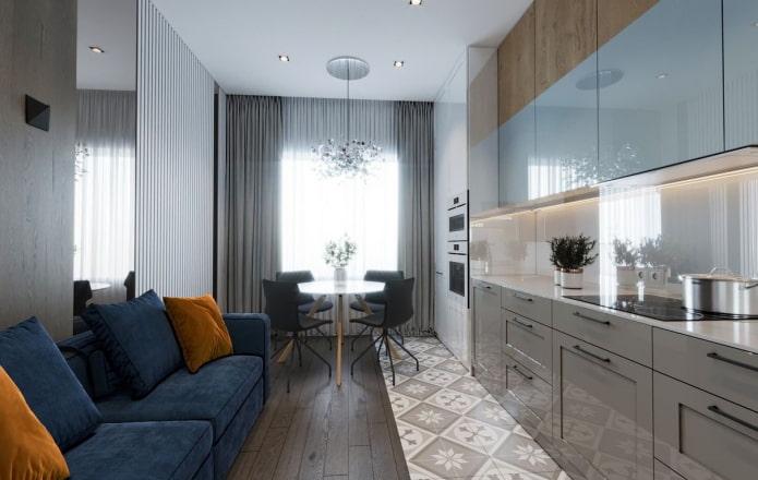 conception de cuisine-salon avec une fenêtre