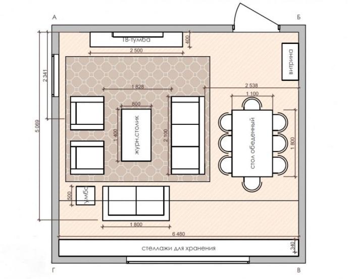 plan de cuisine-salon en forme de carré