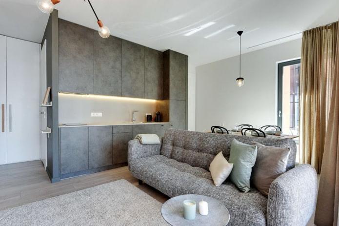 intérieur cuisine-salon à aire ouverte