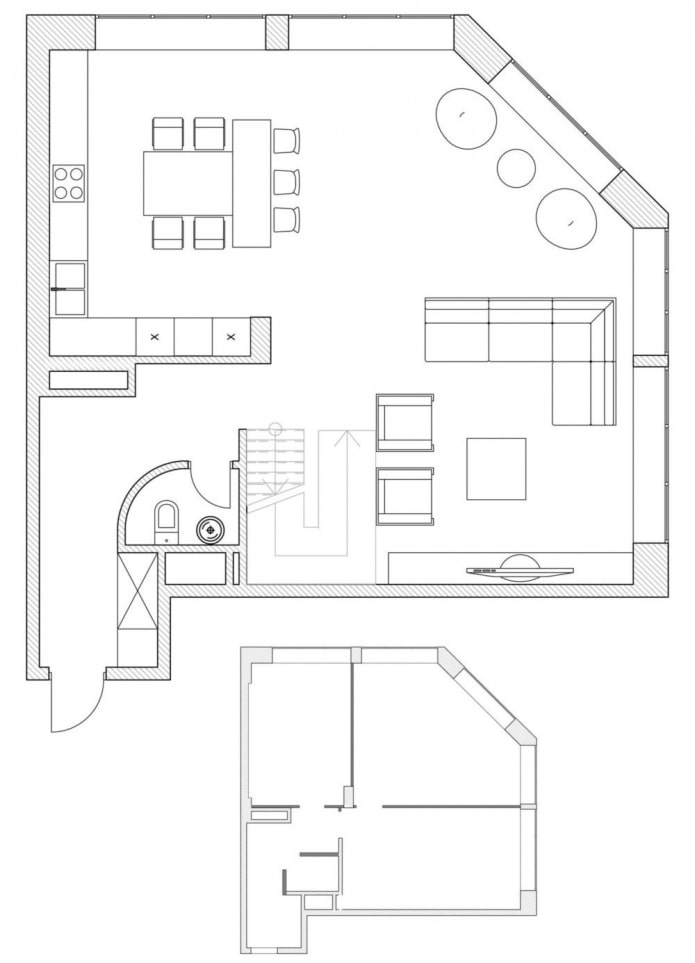 plan cuisine-salon avec une disposition non standard