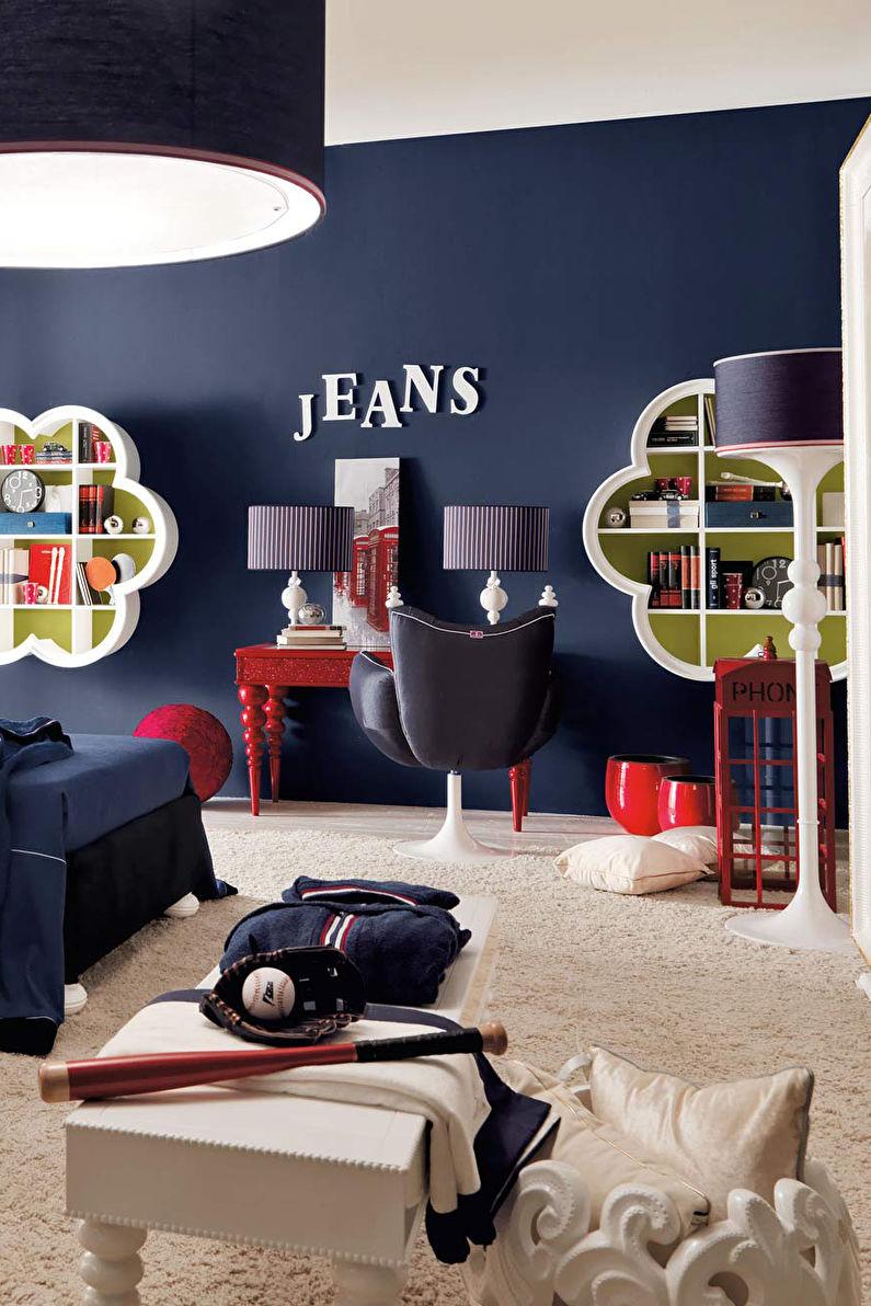 Chambre bleue pour enfants - Design d'intérieur