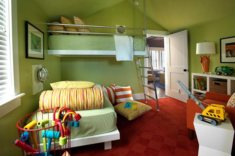 Chambre verte pour enfants - Design d'intérieur
