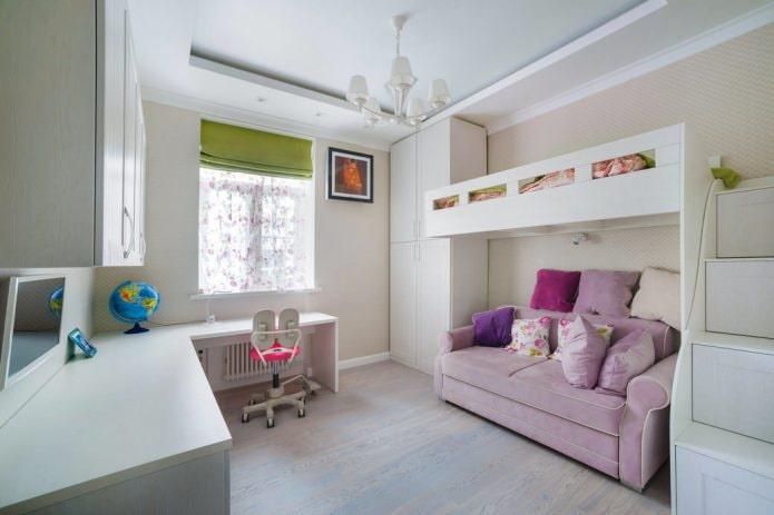 chambre d'enfant dans un style moderne avec un lit au deuxième étage