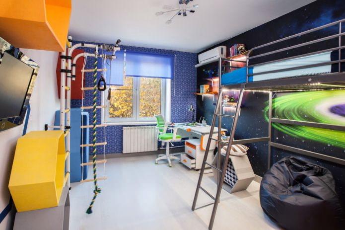 chambre d'enfant pour un garçon dans les tons bleus (thème de l'espace)