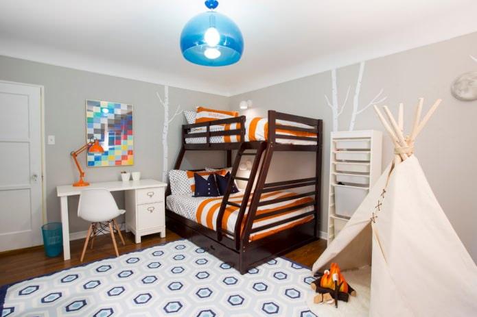 petite chambre pour deux enfants avec un lit superposé