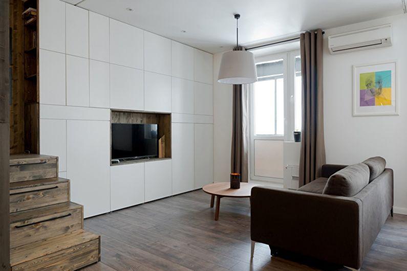 Conception de salon dans le style du minimalisme
