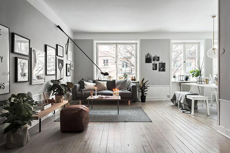 Conception de salon de style scandinave