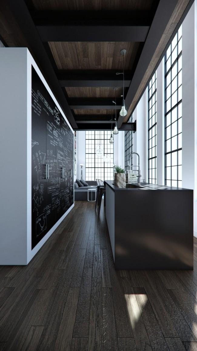 Chêne massif, fenêtres sur profilés métalliques noirs et façades d'armoires en ardoise