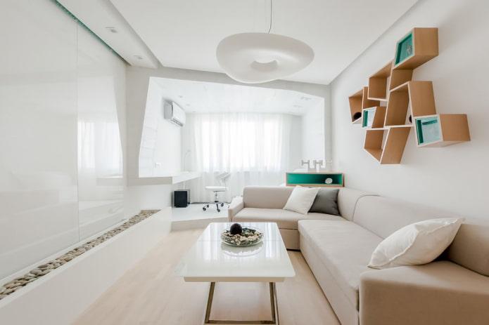 Salon dans le style du minimalisme