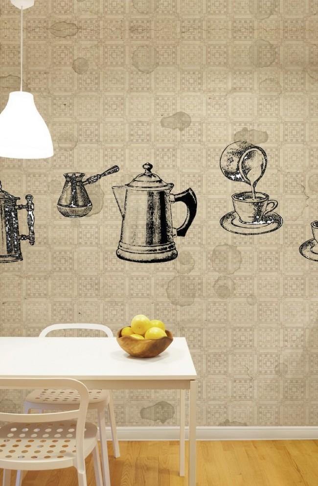 Un rituel matinal irremplaçable dans la cuisine, représenté de manière réaliste sur le papier peint