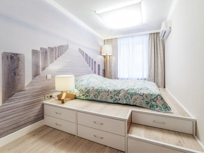 chambre lumineuse avec papier peint photo