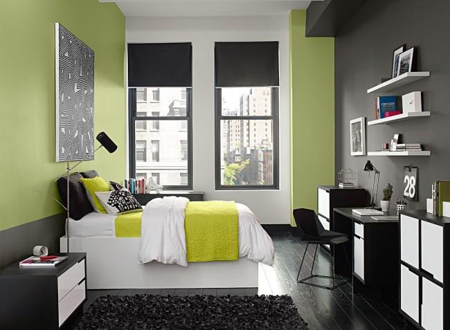 Le vert pastel et le gris foncé sont beaux et contrastés et séparent les zones de couchage et de travail