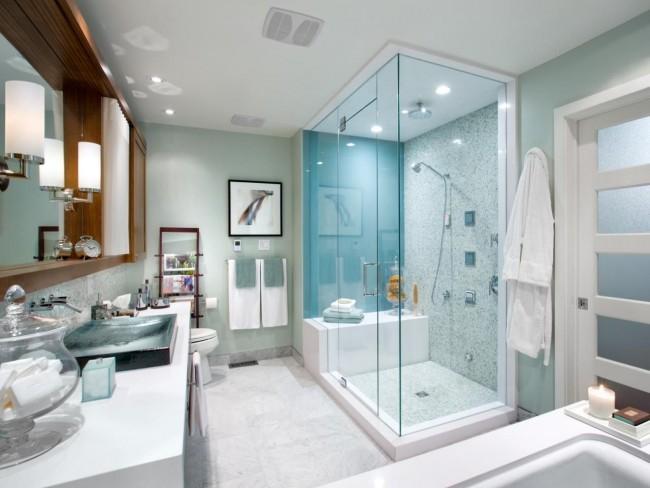 Murs gris-turquoise, en option pour la salle de bain