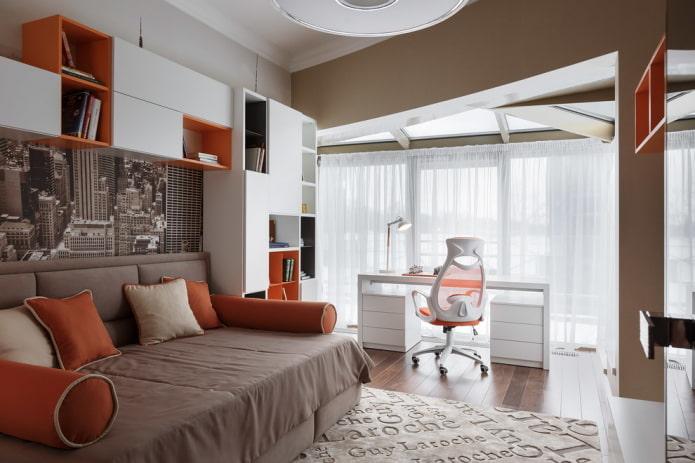 conception de chambre avec fenêtre pour garçon adolescent