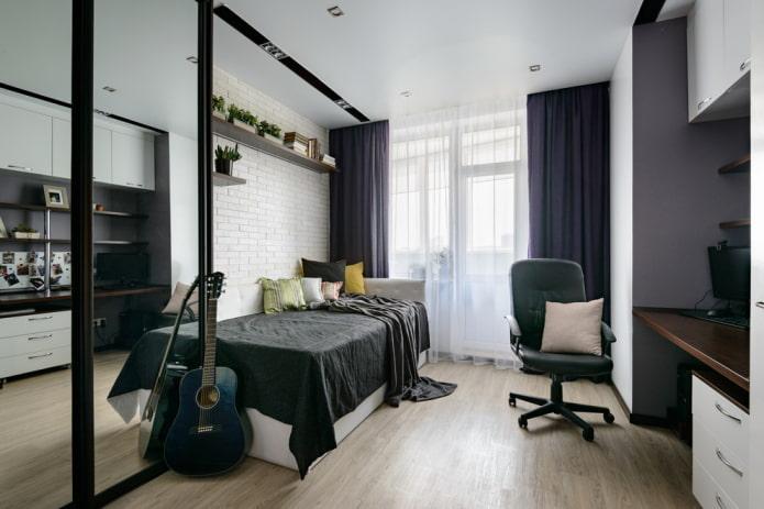 aménagement de meubles dans la chambre pour un adolescent