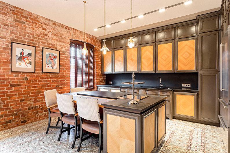 Cuisine marron de style loft - photo