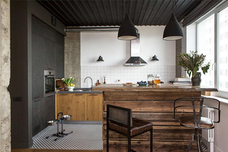 Cuisine en bois de style loft - photo
