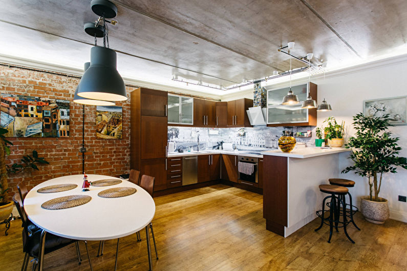 Conception de plafond - cuisine de style loft