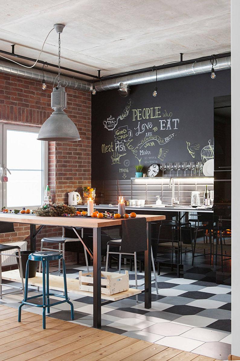 Décoration murale - cuisine de style loft