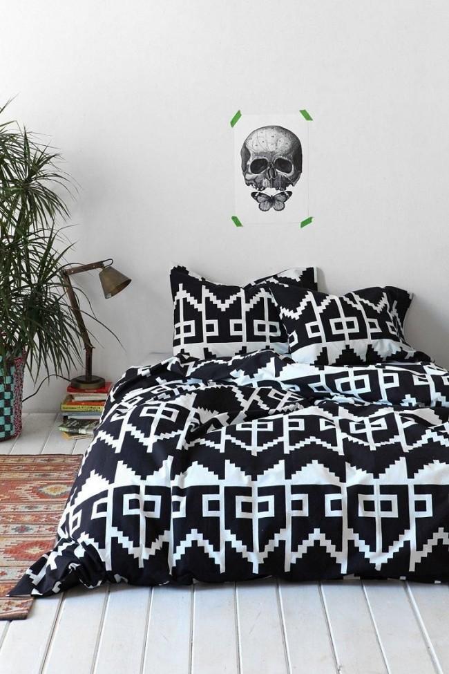 Couvre-lit imprimé noir et blanc contrasté