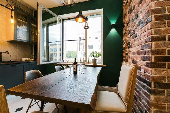 murs verts dans la cuisine