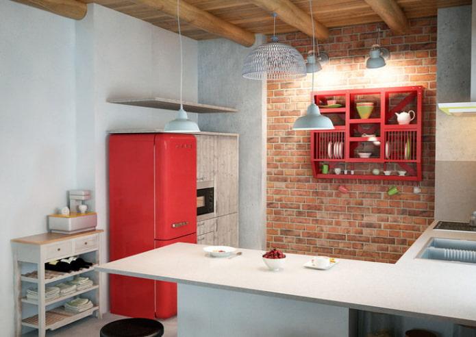 cuisine de style loft blanc et rouge