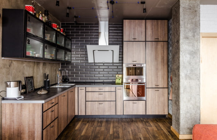 murs en béton dans la cuisine