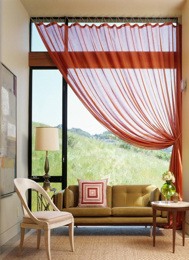 Lin transparent rouge brique pour rideaux