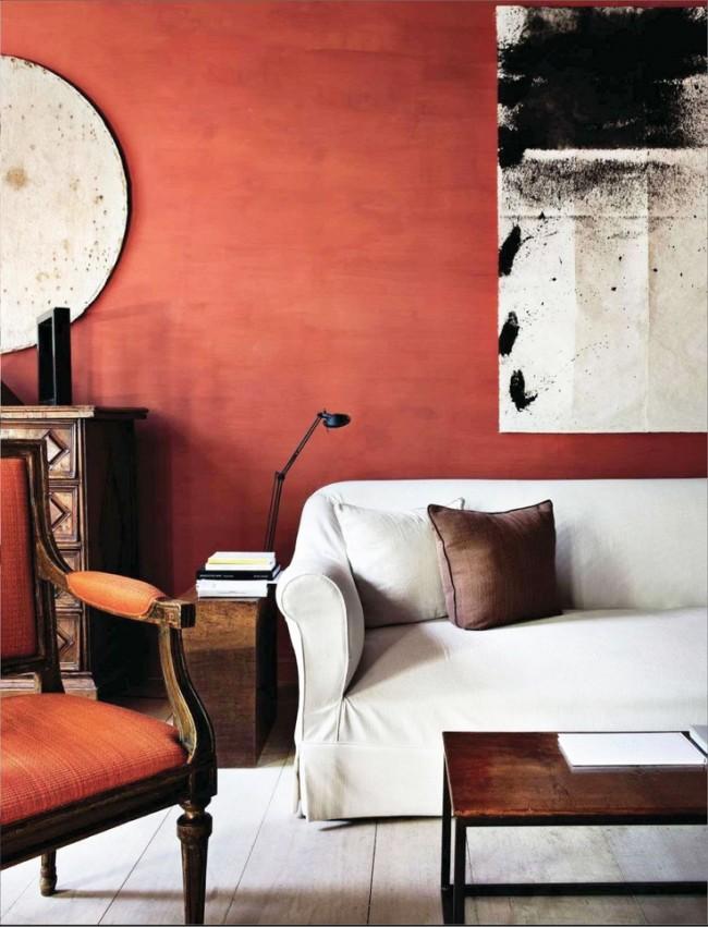 Peindre les murs de couleur terre cuite ajoutera de la personnalité à la pièce