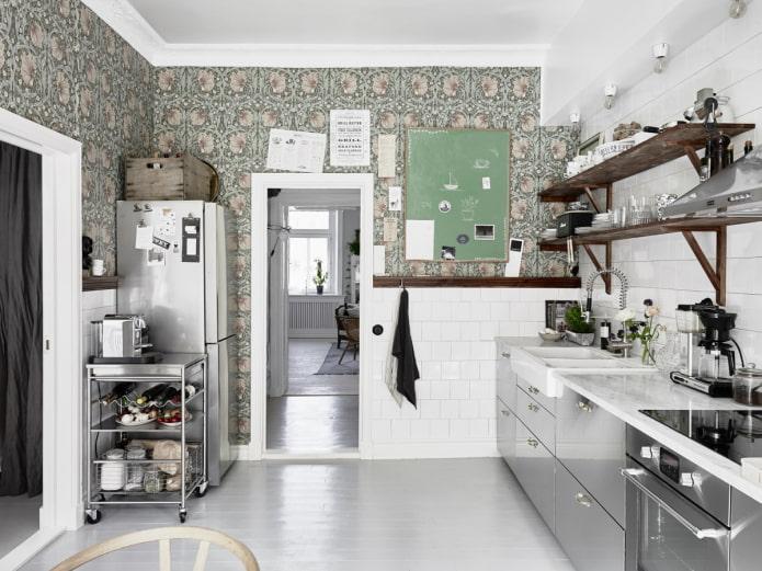 papier peint dans la cuisine scandi