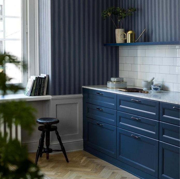 papier peint cuisine bleu