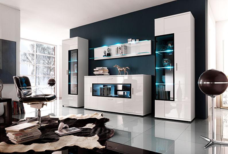 Murs de salon modulables dans un style moderne