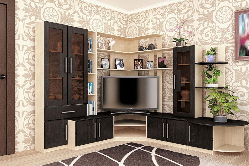 Mur dans un salon dans un style moderne - types de murs par configuration
