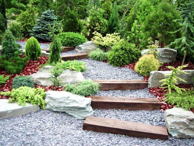 Ce n'est pas une imitation d'un paysage, mais simplement une composition artistique de rochers asymétriques avec des chemins entre eux et des compositions végétales.