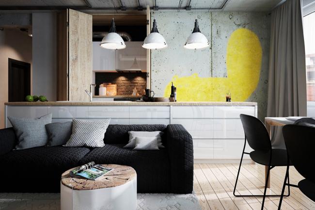 À l'intérieur, dans le style du brutalisme, l'absence d'armoires murales est particulièrement harmonieuse.