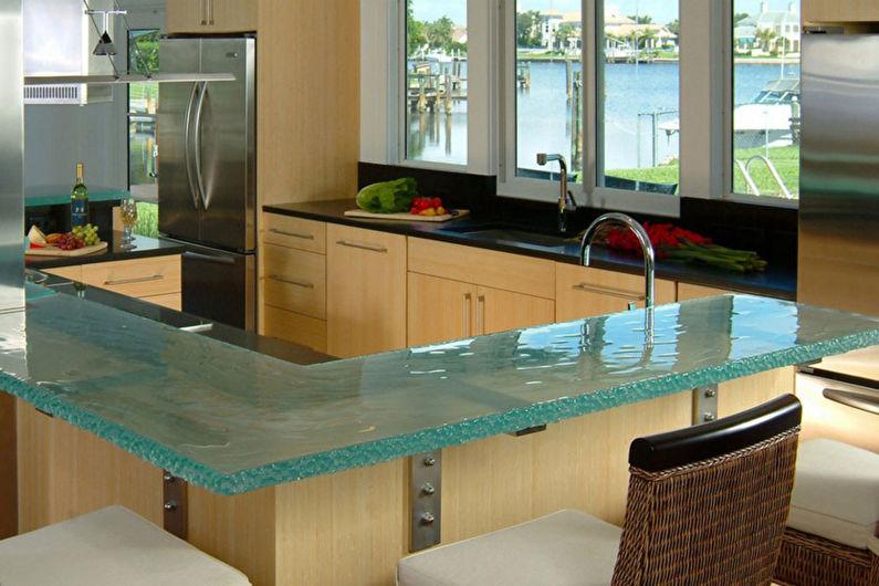 Comptoir de bar pour cuisine en verre