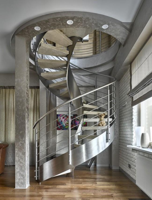 Escalier high-tech au deuxième étage