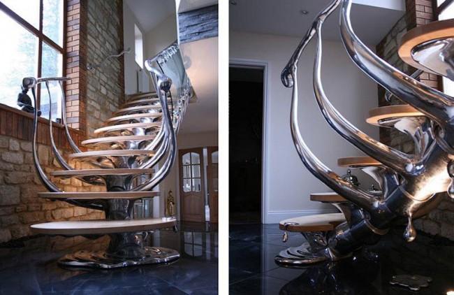 Magnifique escalier avec effet métal dégoulinant