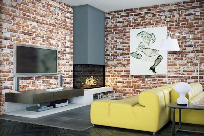 Mur de briques à l'intérieur - Papier peint intissé