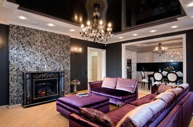 Intérieur du salon avec plafond tendu noir