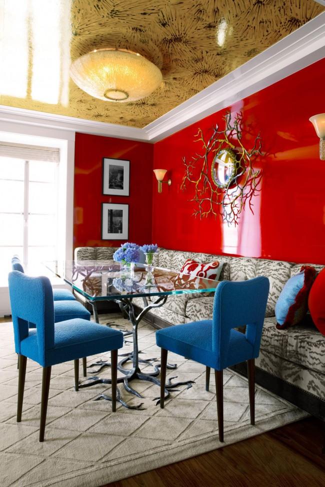 Magnifique intérieur de salon avec plafond tendu