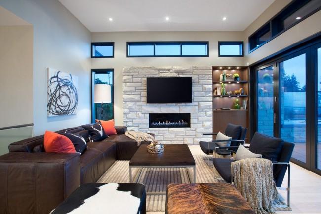 Salon avec un plafond tendu dans un style moderne