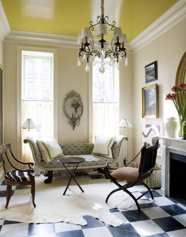 Plafond tendu coloré dans le salon
