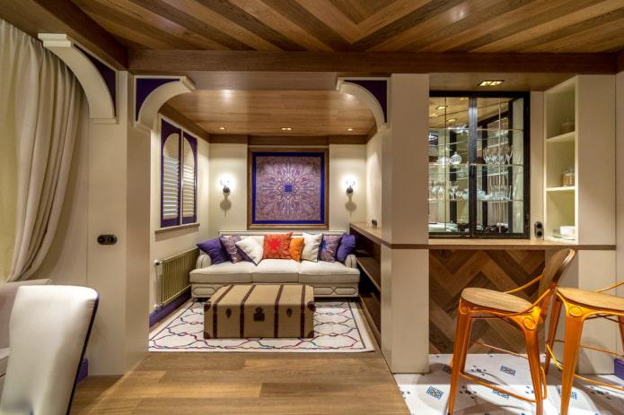 comptoir de bar d'angle à l'intérieur du salon