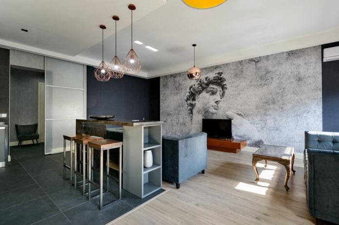 comptoir de bar dans le hall dans un style moderne