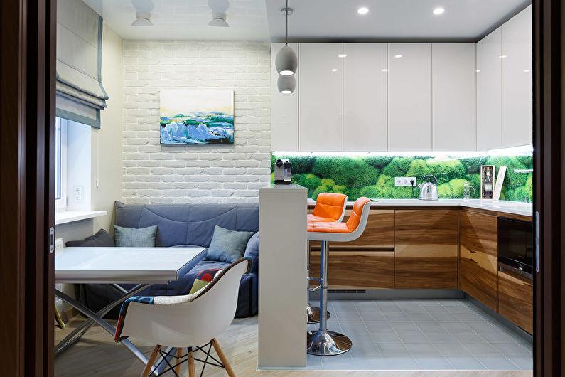 Conception de cuisine-salon dans un petit appartement - Couleurs