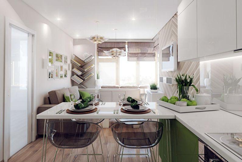 Conception de cuisine-salon dans un petit appartement - Textures