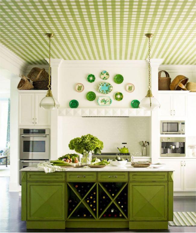 Une solution intéressante à coller au plafond avec du papier peint assorti à l'îlot de cuisine