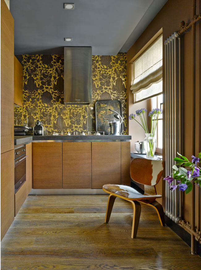 Le papier peint lavable peut être collé en toute sécurité dans la zone de travail de la cuisine